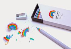 Made from recycled paper, rainbow pencils let you create beautiful paper rainbows when you sharpen them. Rainbow Pencils function like regular wooden pencils, and are the same size and weight, but the Gadgets, Cute School Supplies, Fun Office Supplies, Art Supplies, Justice School Supplies, Cool Inventions, Deco Design, Design Design, Design Ideas