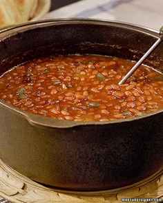 Recipe: Big Bob Gibson's Bar-B-Q Baked Beans - Big Bob Gibson Bar-B-Q, an Alabama restaurant, has been serving this classic comfort food since - Martha Stewart Vegetable Side Dishes, Vegetable Recipes, Baked Bean Recipes, Beans Recipes, Baked Beans With Bacon, Great Recipes, Favorite Recipes, Yummy Recipes, Chili Con Carne