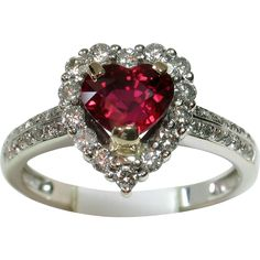 VIVID Rare Heart-Shaped Certified 'Unheated Ruby and Diamond Ring - found at www.rubylane.com - This item currently selected for the Ruby Red Tag Fall into Savings 30% off Sale which starts Friday, 9/23/16 at 8 am Pacific time! Preview the sale items at https://www.rubylane.com/search?types=redtag