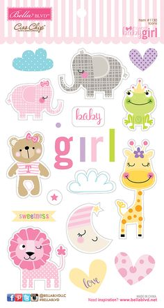 Bella Blvd Sweet Baby Girl Ciao Chip Self Adhesive Chipboard Icons