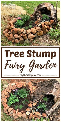 Learn how to make a fairy garden in a tree stump (with a stone stack container) with this unique DIY fairy garden tutorial. It's time to get outside and start planting! Landscaping Along Fence, Backyard Landscaping, Outdoor Projects, Garden Projects, Cute Kids Crafts, Spring Activities, Sensory Activities, Family Activities, Outdoor Activities