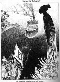 """Wahnwitziger Plan:  """"Und nun doch Madagaskar?"""" Karikatur von 1938 in der..."""