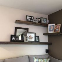 Basics Of Living Room Wall Decor Ideas Above Couch Rustic Shelves 69 Shelves Over Couch, Living Room Shelves, Wall Shelves, Living Room Decor, Shelving, Floating Corner Shelves, Rustic Floating Shelves, Floating Bookshelves, Diy Corner Shelf