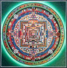 Green Kalachakra Thangka Buddhist Wheel Of Life, Buddhist Words, Buddhist Art, Tibetan Buddhism, Tibetan Mandala, Buddhist Practices, Spiritual Images, Thangka Painting, Virtual Art