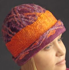 Ruth Walker felted hats -  take a workshop with her at Fabulous Fibre workshops, hosted by HeartFelt Silks