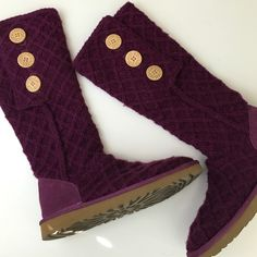 Ugg Boots Maroon sweater boots that have never been worn! They are super comfy and perfect for fall or winter! No trades or Paypal. UGG Shoes Winter & Rain Boots