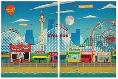 Vintage Coney Island Print SET