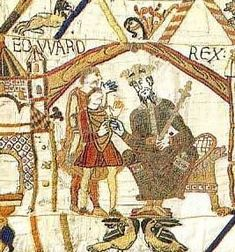 Edward the Confessor, King of England 1042-1066, opening scene of the Bayeux Tapestry