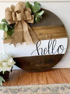 Hello Round Door Sign – The Rustic Peach The Effective Pictures We Offer You About wooden doors main A quality picture can tell you many things. You can find the most beautiful pictures that can be pr Wooden Door Signs, Front Door Signs, Wooden Door Hangers, Porch Signs, Front Door Decor, Wooden Doors, Fall Door Hangers, Rustic Wood Signs, Front Doors