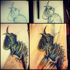 """Check out these progression pics of a #penandink & #coloredpencil #drawing by @kanimations (Keith Murrell's Twitter) from #sketch to #ink to rough color to final #illustration. Keith's got some real amazing talent with #colors and I think seeing the #process really highlights his skills.  Even though I know Keith and his great ability to bring a few #pencil lines to life I was still a bit skeptical when I saw the first image he posted on IG (@kanimationstudios). I was like """"Why's Keith…"""