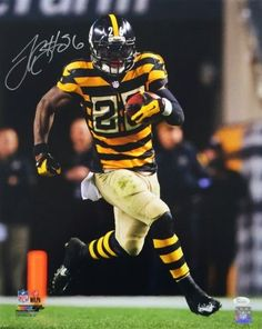 e96ce8c228b Sports Integrity 18117 LeVeon Bell Signed 16 x 20 Pittsburgh Steelers  Bumble Bee Jersey Run Photo - JSA