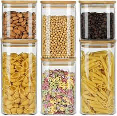 Ten Creative Tips And Tools For Creating More Room In Your Kitchen Storage Canisters, Glass Canisters, Jar Storage, Glass Jars, Glass Food Storage, Food Storage Containers, Square Kitchen, Kitchen Pantry Storage, Tea Snacks