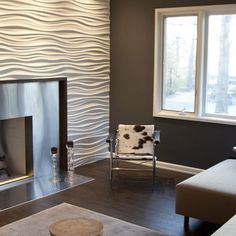 Stainless Steel Fireplace and modularArts wall - modern - media room - other metros - Wrightworks, LLC