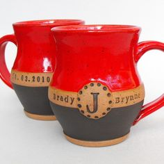 Personalized mugs.  Beautiful pottery gifts from MudPieStudioNC on Etsy.