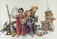 'Harry Potter and Friends' by William Stout (from 40 Beautiful Harry Potter Art and Illustration Tributes)