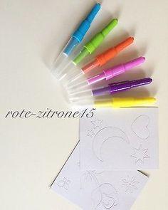 Airbrush Zauberstifte Pustestifte Stift 2 Schablonen Basteln Kinder Malen NEU OV