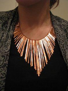 Copper Necklace - Athena - Copper Collar - Handmade Jewelry - smooth edge contour