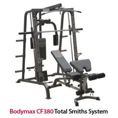This total workout machine includes lat pulldown, low pulley, pec deck, and adjustable weight supports and spotter bars for squatting http://www.menshealthstore.co.uk/Bodymax-CF380-Total-Smiths-System/lid/10892