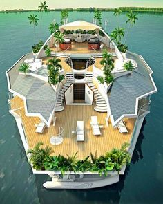 ☼ Life by the sea Luxury Tropical Island Yacht Floating Gardens