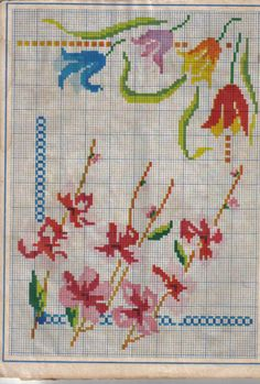 Cross Stitch Borders, Cross Stitch Flowers, Cross Stitch Designs, Cross Stitch Patterns, Floral Border, Cross Stitch Embroidery, Needlepoint, Needlework, Diy And Crafts