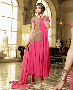 Buy Fascinating Pink Party Wear Gown online at  https://www.a1designerwear.com/fascinating-pink-party-wear-gown-2  Price: $41.08 USD