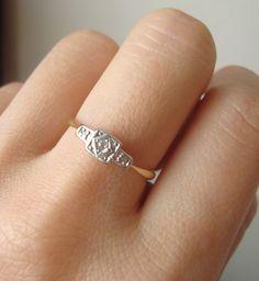 Simple and beautiful...Antique 18k Gold & Platinum Diamond Ring, Art Deco Diamond Wedding Ring Vintage 18k Gold Engagement Ring Size US 6.25 / 6.5. $245.00, via Etsy.
