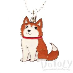 Adorable Puppy Dog Shaped Animal Pendant Necklace in Brown and White
