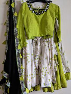 Chaniya choli Wear meter flare 2 layerd Priti collections in USA pH Indian Fashion Dresses, Indian Designer Outfits, Skirt Fashion, Kids Blouse Designs, Blouse Designs Silk, Half Saree Designs, Choli Designs, Choli Dress, Garba Dress