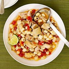 Chicken Posole ~ Turn to your slow cooker for this Mexican stew recipe filled with chicken, hominy, tomatoes, and a delicious blend of spicy and aromatic seasonings. Crock Pot Slow Cooker, Crock Pot Cooking, Slow Cooker Recipes, Cooking Recipes, Healthy Recipes, Crockpot Recipes, Easy Recipes, Delicious Recipes, Tasty