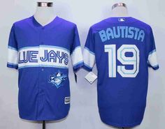 Men's Toronto Blue Jays #19 Jose Bautista Blue New Cool Base Jersey