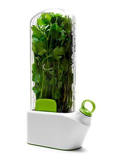 Cool kitchen gadget! Herbs will last up to 3 weeks when stored in the fridge.