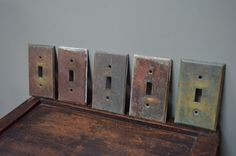 Lot of 5 Solid Brass Light Switch Covers Architectural Salvage from 1920- Great Patina - I Ship Internationally by bluefolkhome on Etsy