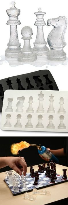 "Ice Speed Chess Set - ""Create two different colors of chess pieces by using juice instead of water."" - Soo neat. - $9.99"