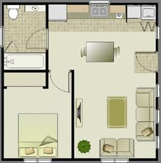 Efficient layout, 500 sf ranch floor plan simple basic - Google Search