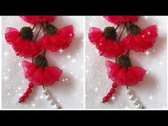 #Özlem#Topal#Organza#Kurdale#Karanfil#Çiçeği#Tesbih#Ucu#Motif#Yapımı# - YouTube Organza Flowers, Fabric Flowers, Shibori, Sewing Patterns, Make It Yourself, Youtube, Ribbon Flower, Roses, Bias Tape