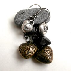 Three Hearts Earrings - Mixed Materials by ReTainReUse on Etsy