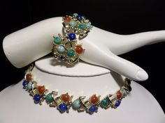 WAITING 4U.. #VintageJewelry.. Silvertone and Paste Stone MX Signed & Numbered Demi Parure.