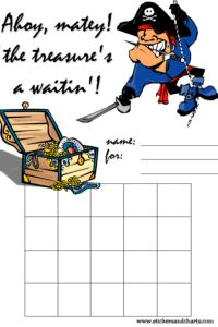 sticker chart, pirate, treasure chest. Repinned by SOS Inc. Resources @sostherapy.