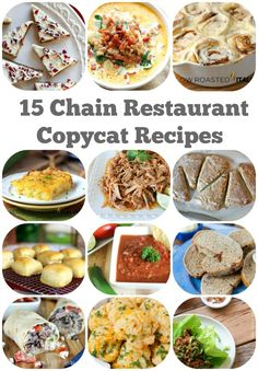 15 Copycat Recipes from Your Favorite Chain Restaurants: included are Starbucks Cranberry Bliss Bars, Cracker Barrel Hash Browns, Olive Garden Zuppa Toscana, Cinnabon Cinnamon Rolls, Red Lobster Cheddar Bay Biscuits and more!!