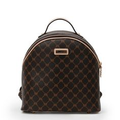 Small Newly Brown Diamond Lattice European and American Style PVC Backpacks for Ladies