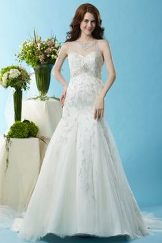 Style * BL130 * » Wedding Dresses » Black Label 2015 Spring Collection » by Eden Bridals » Available Colours : Ivory ~ Shown Sweetheart Bodice with Sheer Bateau neckline Trimmed with heavily Beaded Cluster & matching Beading at waist.