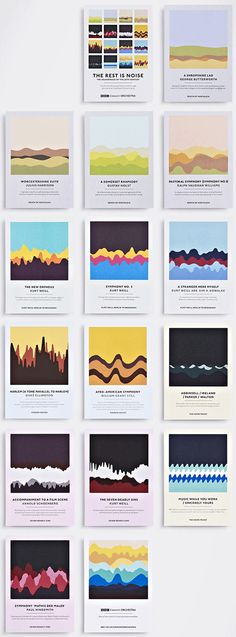 Beautiful set of cards featuring a graphic that represents a tiny segment of a soundwave from a particular piece of music that will be performed at the event it promotes. To promote BBC Concert Orchestra events at London's Southbank Centre.