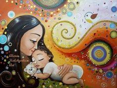 Risultati immagini per alena kalchanka art Mother Art, Mother And Baby, Baby Painting, Painting & Drawing, Mother And Child Painting, Breastfeeding Art, Pregnancy Art, Indigenous Art, Native Art