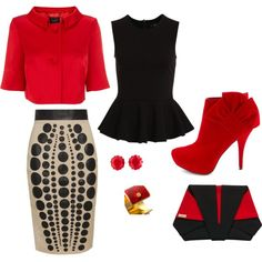 """Business Casual in a Creative Work place - red & black"" by dreadlocdivand on Polyvore"