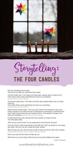 Today I would like to share with you a simple and beautiful story from the Whole Family Rhythms Winter Guide.
