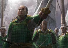 Yoritomo Naoto - L5R Wiki, the Legend of the Five Rings wiki - Clans, dragon, scorpion, and more Jade Dragon, Samurai Art, Fantasy Rpg, Martial Arts, Pixar, Character Art, Cool Art, Anime, Fictional Characters