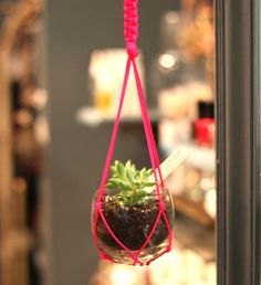 neon string makes this crochet? macrame? plant hanger chic!