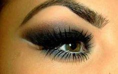 Gray, brown and black smokey eyes