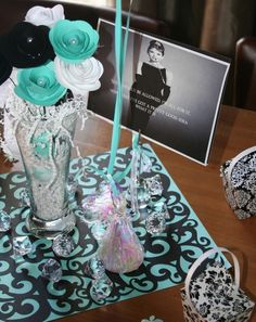Decorations at a Breakfast at Tiffany's Wedding Shower Party!  See more party ideas at CatchMyParty.com!