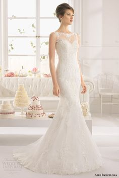 aire barcelona bridal 2015 aloe sleeveless sheath wedding dress illusion neckline